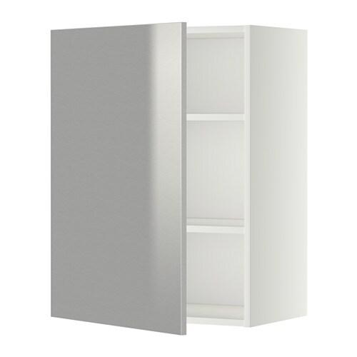 METOD Väggskåp med hyllplan vit, Grevsta rostfritt stål, 60×80 cm IKEA