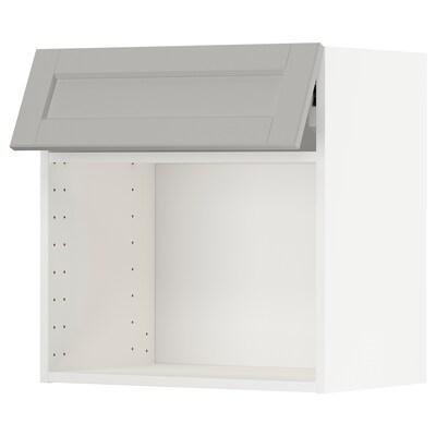 METOD väggskåp för mikrovågsugn vit/Lerhyttan ljusgrå 60.0 cm 38.9 cm 60.0 cm