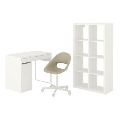 MICKE/ELDBERGET / KALLAX Skrivbords-/förvaringskombination, och skrivbordsstol vit/beige