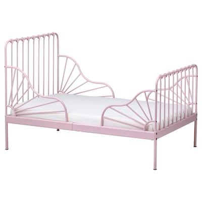 MINNEN Utdragbar sängstomme med ribbotten, ljusrosa, 80x200 cm
