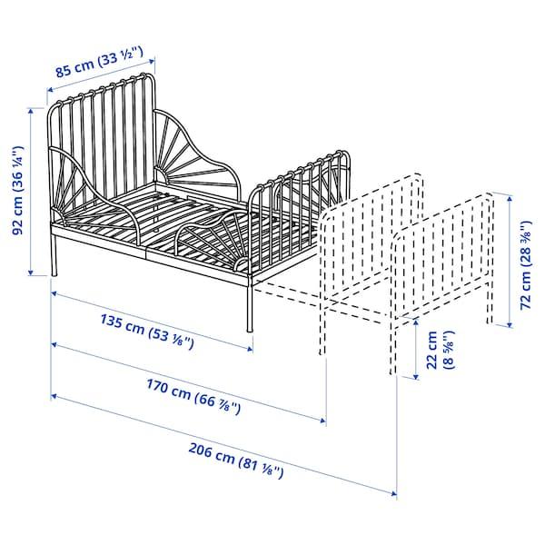 MINNEN Utdragbar sängstomme med ribbotten, svart, 80x200 cm