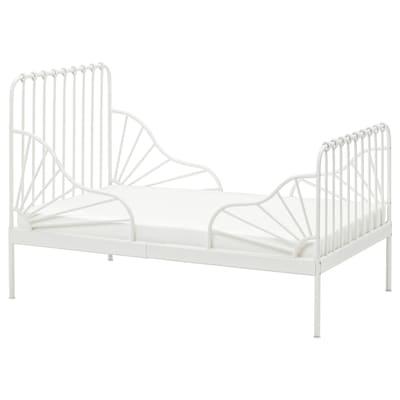 MINNEN Utdragbar sängstomme med ribbotten, vit, 80x200 cm
