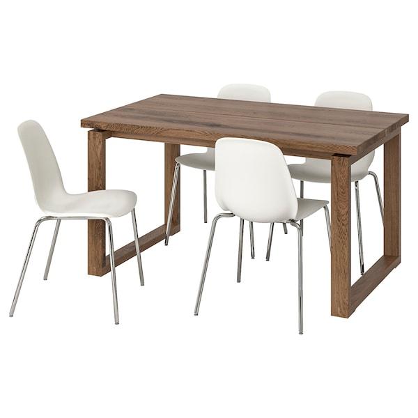 MÖRBYLÅNGA / LEIFARNE Bord och 4 stolar, brun/vit, 140x85 cm