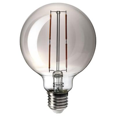 MOLNART LED ljuskälla E27 120 lumen, klot grå klarglas, 95 mm