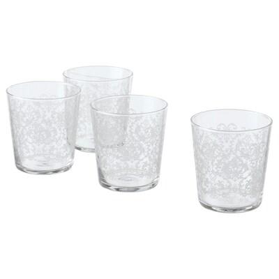 MUSTIGHET glas mönstrad/vit 9 cm 30 cl 4 styck