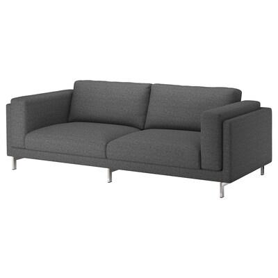 NOCKEBY 3-sits soffa, Lejde mörkgrå/förkromad