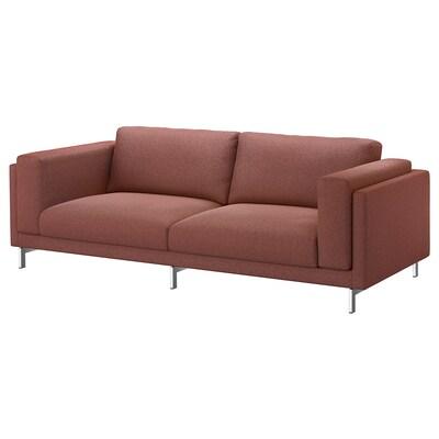 NOCKEBY 3-sits soffa, Tallmyra rostbrun/förkromad