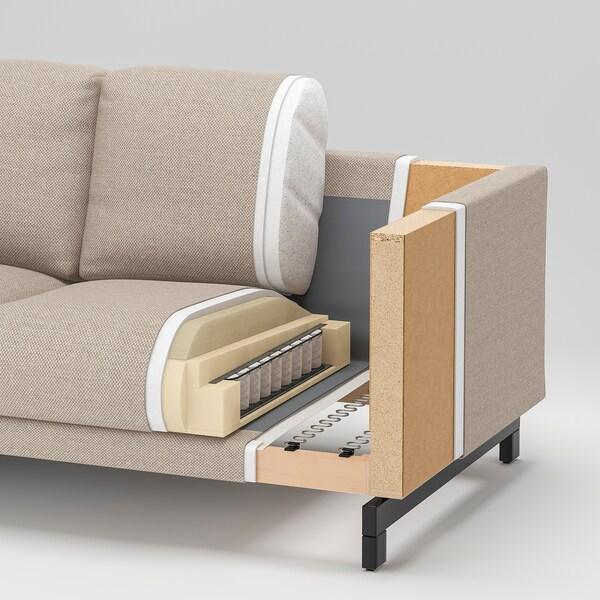 NOCKEBY 3-sitssoffa, med schäslong, höger/Tallmyra rostbrun/trä
