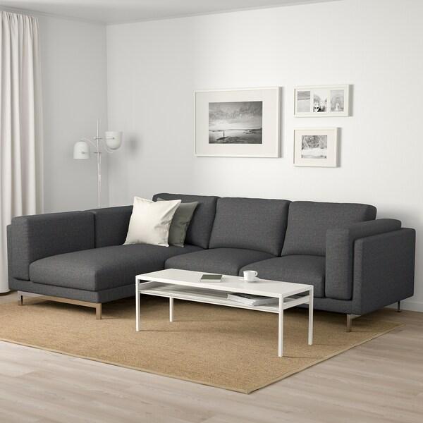 NOCKEBY 3-sitssoffa, med schäslong, vänster/Lejde mörkgrå/förkromad
