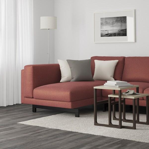 NOCKEBY 3-sitssoffa, med schäslong, vänster/Tallmyra rostbrun/trä