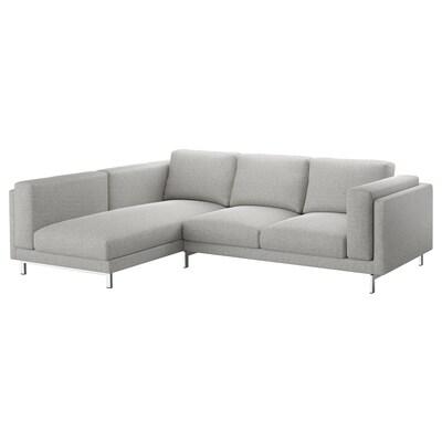 NOCKEBY 3-sitssoffa, med schäslong, vänster/Tallmyra vit/svart/förkromad