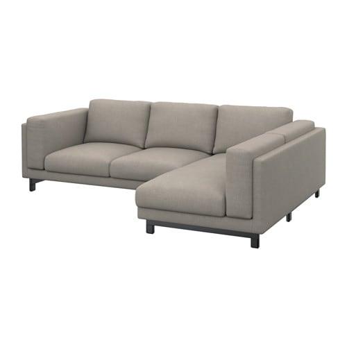 NOCKEBY 2 sits soffa med schäslong höger höger Tenö ljusgrå, trä IKEA
