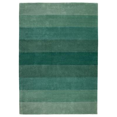 NÖDEBO Matta, kort lugg, handgjord/grön, 170x240 cm