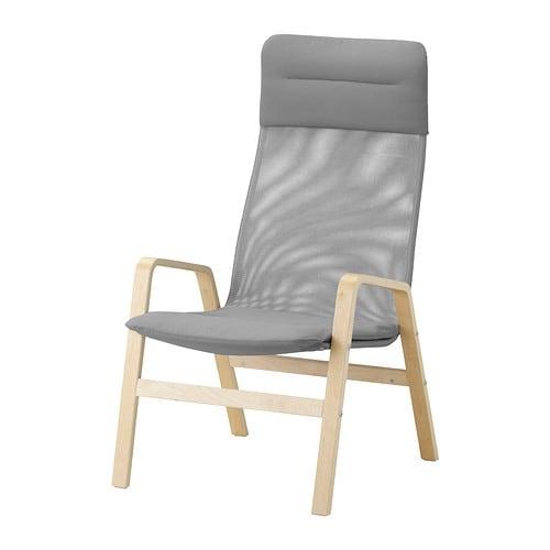NOLBYN Fåtölj med hög rygg björkfaner grå IKEA