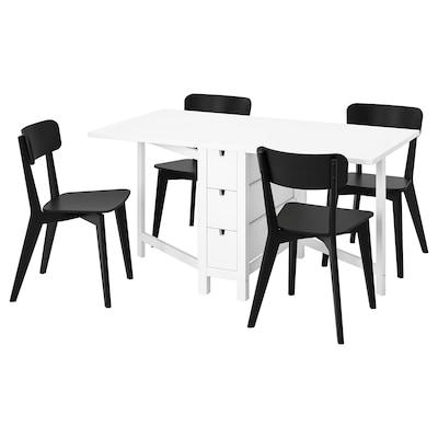 NORDEN / LISABO Bord och 4 stolar, vit/svart, 26/89/152x80 cm