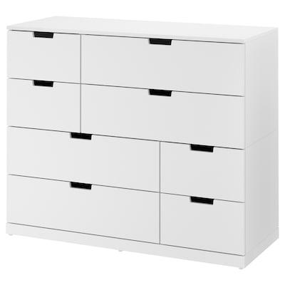 NORDLI Byrå med 8 lådor, vit, 120x99 cm