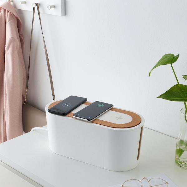 NORDMÄRKE Trippelplatta för trådlös laddning, vit, kork IKEA