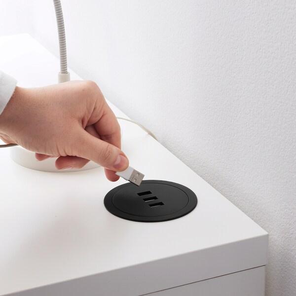 NORDMÄRKE USB laddare, svart, kork IKEA