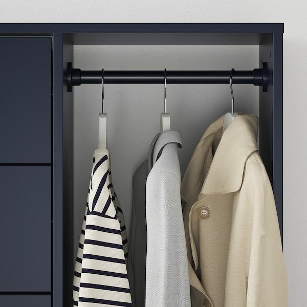 NORDMELA Byrå med klädstång, svartblå, 119x118 cm