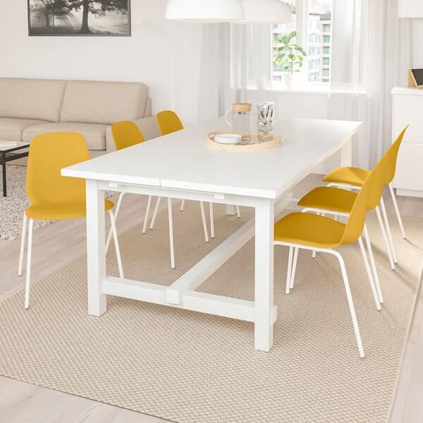 NORDVIKENLEIFARNE Bord och 6 stolar, vit, mörkgul vit IKEA