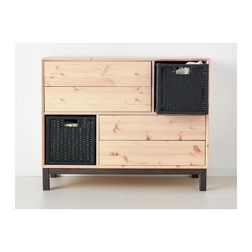 NORNÄS Byrå med 4 lådor och 2 fack IKEA Gjord av massivt trä som är ett slitstarkt och levande naturmaterial.
