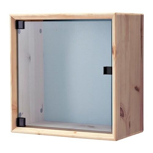 ikea skåp trä ~ nornÄs väggvitrinskåp  furu gråblå  ikea
