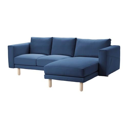 schäslong ikea ~ norsborg 2sits soffa med schäslong  edum mörkblå, björk