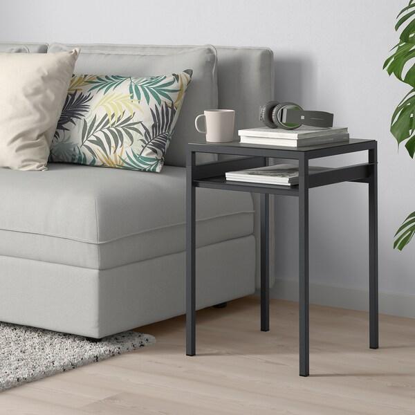 NYBODA sidobord med vändbar bordsskiva mörkgrå betongmönstrad/svart 40 cm 40 cm 60 cm