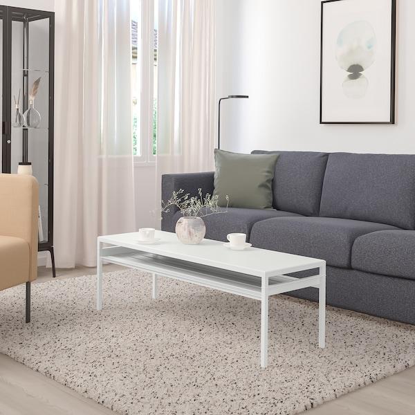 NYBODA Soffbord med vändbar bordsskiva, ljusgrå betongmönstrad/vit, 120x40x40 cm
