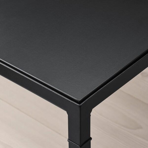 NYBODA Soffbord med vändbar bordsskiva, mörkgrå betongmönstrad/svart, 75x60x50 cm