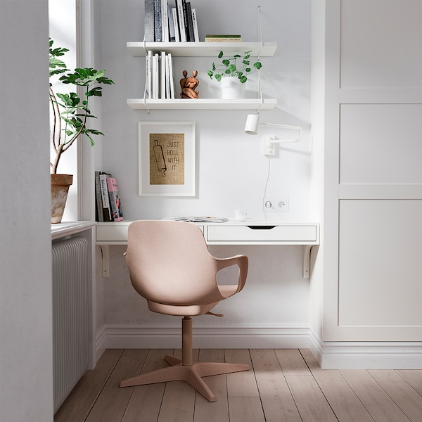 ODGER Skrivbordsstol, vit/beige