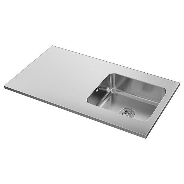 OLOFSJÖN Bänkskiva med 1 integrerad diskho, rostfritt stål, 120x63.5 cm