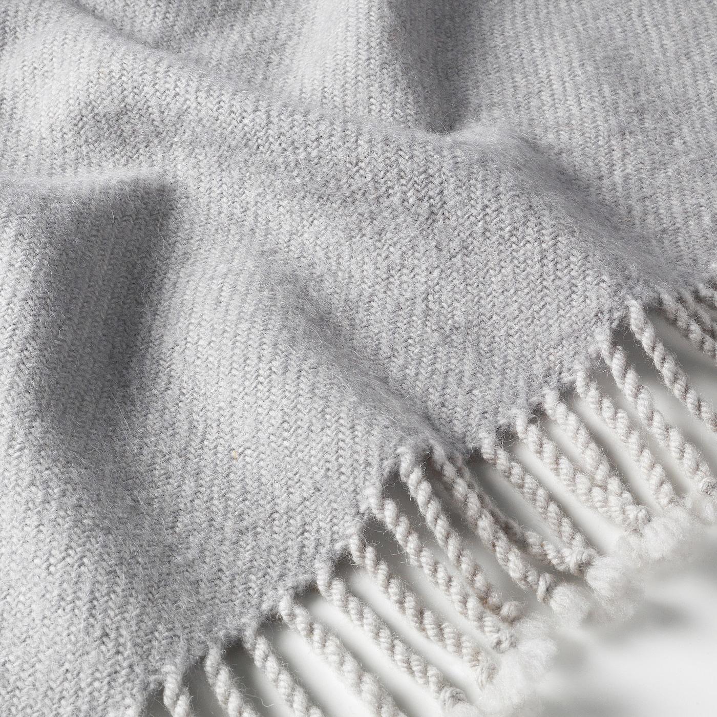 OMTÄNKSAM Pläd, ljusgrå, 60x160 cm