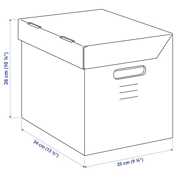 PAPPIS Låda med lock, brun, 25x34x26 cm