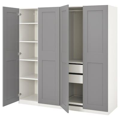 PAX / GRIMO Garderobskombination, vit/Grimo grå, 200x60x201 cm