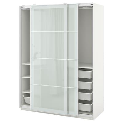 PAX / SEKKEN Garderobskombination, vit/frostat glas, 150x66x201 cm