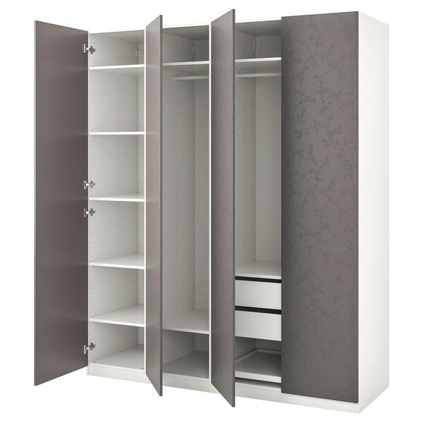 PAX garderob vit/Flornes mörkgrå 200.0 cm 60.0 cm 236.4 cm