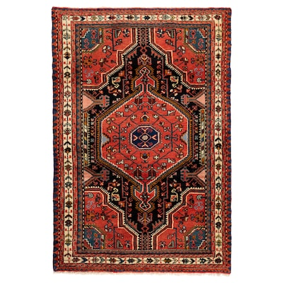PERSISK HAMADAN Matta, kort lugg, handgjord blandade mönster, 100x150 cm
