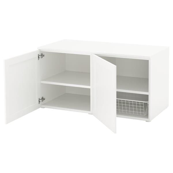 PLATSA Bänk med förvaring, vit/Sannidal vit, 120x57x63 cm