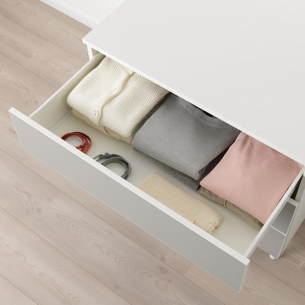 PLATSA Byrå med 3 lådor, vit/Skatval ljusgrå, 80x57x73 cm