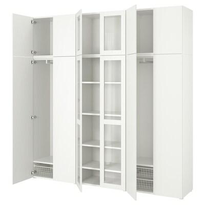 PLATSA Förvaringskomb med 12 dörrar, vit/Fonnes Värd, 240x42x241 cm
