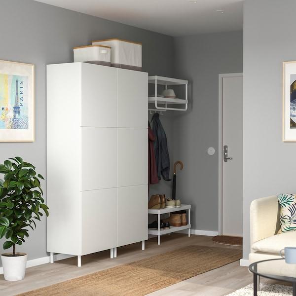 PLATSA Garderob m 6 dörrar, vit/Fonnes vit, 120x42x191 cm
