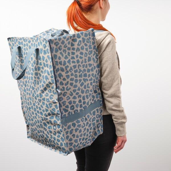 PLUGGHÄST Väska, mönstrad blå, 72 l