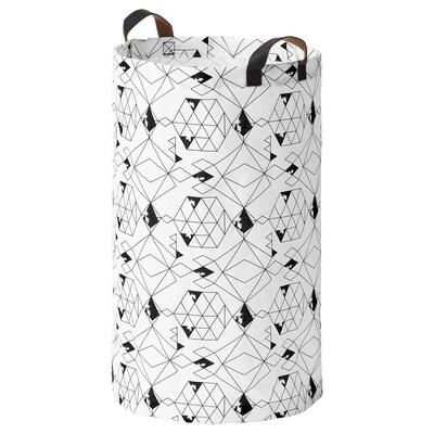 PLUMSA Tvättsäck, vit/svart, 60 l
