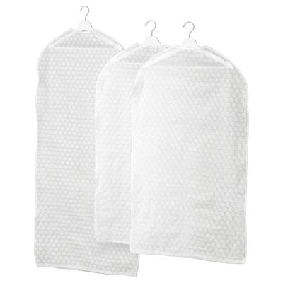 PLURING Klädöverdrag set om 3, transparent vit