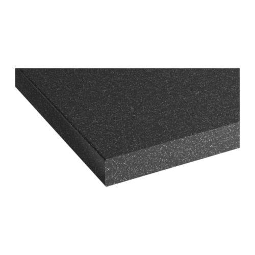 PRÄGEL Bänkskiva, svart stenmönstrad Längd: 186 cm Djup: 62 cm Tjocklek: 3.8 cm
