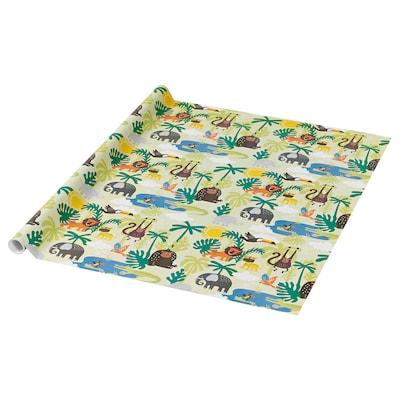 PURKEN Presentpappersrulle, djur/grön, 3.0x0.7 m