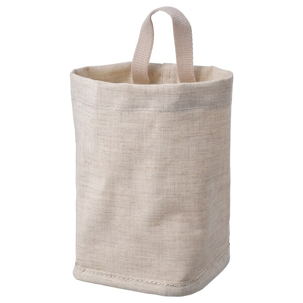 PURRPINGLA Förvaringskorg, textil/beige, 10x10x15 cm