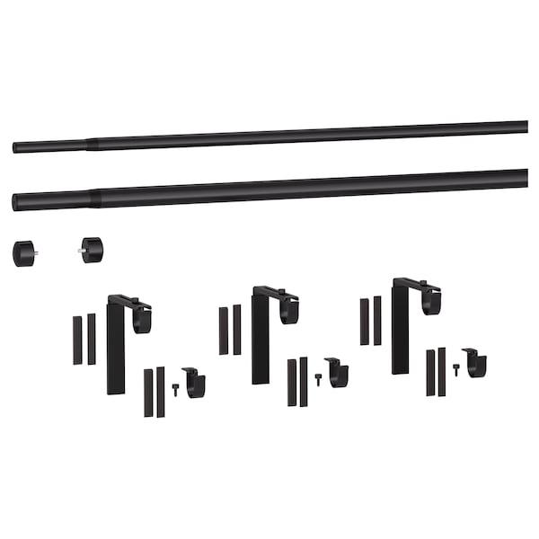 RÄCKA / HUGAD Gardinstångskombination dubbel, svart, 210-385 cm