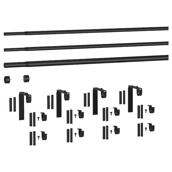 RÄCKA / HUGAD Gardinstångskombination trippel, svart, 120-210 cm